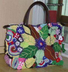 o mi gosh what a LOT of wonderful work! Freeform Crochet, Irish Crochet, Crochet Motif, Knit Crochet, Crochet Patterns, Crochet Purses, Crochet Bags, Flower Bag, Unique Purses