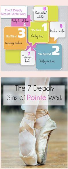 The 7 Deadly Sins of Pointe Work. via Accidental Artist Ballet Feet, Ballet Dancers, Ballerinas, Dancers Feet, Adult Ballet Class, Dancer Stretches, Bag Essentials, Mikhail Baryshnikov, Dance Tips