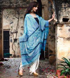 Tussar Ikat Odhani with Needle & Thread Work and Authentic Parsi Gara Borders