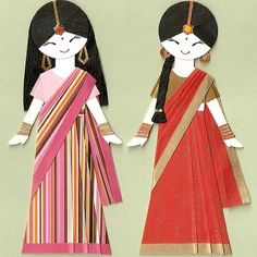 nayadiction: faineemae: indian girls in sari paper dolls By kirakirahoshi This could be BabySis and me. Omg, Big Sis, making these tonight with origami paper. Elegant Design Saree CLICK VISIT link above to see Indian Girls, Indian Art, Paper Dolls, Art Dolls, India Crafts, World Thinking Day, World Crafts, Wow Art, Japanese Paper