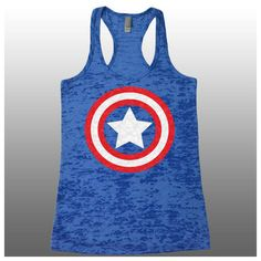 Captain America Tank Top Burnout Tank Funny Womens Workout Tanks... ($24) ❤ liked on Polyvore featuring tops, grey, tanks и women's clothing