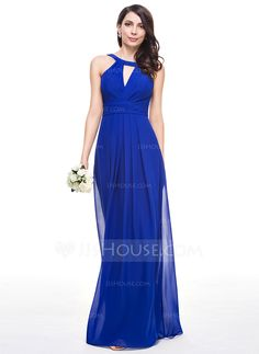 A-Line/Princess Scoop Neck Floor-Length Chiffon Bridesmaid Dress With Ruffle (007059442) - JJsHouse