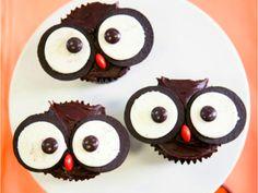 Cupcakes de buho con oreo y lacasitos