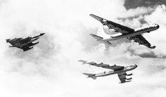 A B-58 Hustler, a B-36 Peacemaker bomber, and a B-52 bomber.