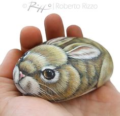 I Painted this Sweet Rabbit on a Natural Sea Rock. A Unique Piece of Art and a great Gift Idea for all of you! My painted rocks are unique pieces of art. I use high quality acrylics and very small brushes. They are painted on smooth sea rocks, FINELY DETAILED ON BOTH SIDES, protected with a strong transparent varnish coat, signed on the back and accompanied by a CERTIFICATE OF AUTENTICITY. Measurements of this hand painted bunny: Lenght 10 cm (4 in) ** I work with passion and love. My…