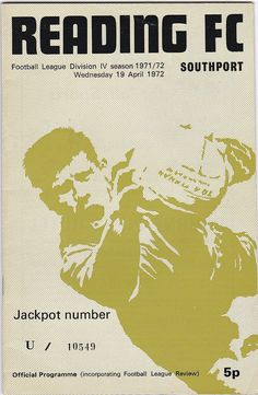 Vintage Football (soccer) Programme - Reading v Southport, 1971/72 season #football #soccer