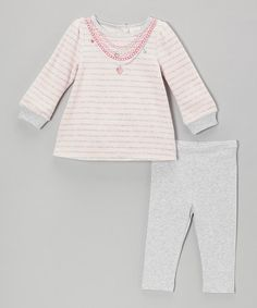 Take a look at this Pink Stripe Velour Tunic & Gray Leggings - Infant by Absorba on #zulily today!