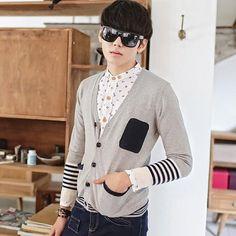 娜欣佳愉商城,代理加盟韩版休闲条纹毛衣 拼色男士V领毛衣 针织开衫外套