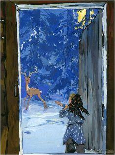 """Сказка """"Серебряное копытце"""", Бажов П.П. http://russkaja-skazka.ru/serebryanoe-kopyitce/ Отворила дверку, глядит, а козёл — тут, вовсе близко. Правую переднюю ножку поднял — вот топнет, а на ней серебряное копытце блестит, и рожки у козла о пяти ветках. #сказки #Бажов #картинки #art #Russia #Россия #добро #дети #иллюстрации #paint #картины #художник #Палех #ЛаковаяМиниатюра #RussianLacquerArt #RussianFairyTales @russkajaskazka"""