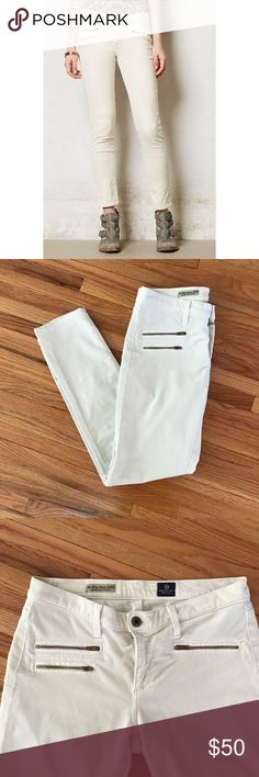 "Anthropologie A.G. Stevie Ankle Moto Cords These are gorgeous cords. Like new. No signs of wear. No stains. We love the moto-inspired details of these perfectly plush cords; for a preppy boy-meets- girl look, try them with an off-the-shoulder sweater and cutout oxfords.  By AG Five-pocket styling Cotton, lycra Machine wash Regular: 28.25""L 7.5"" rise; 5.5"" ankle Petite: 26.25""L 7.5"" rise; 5.5"" ankle USA Style No. 29240280 Pants Ankle & Cropped"