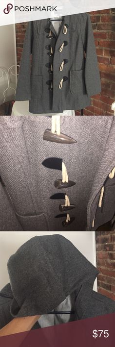 Banana Republic Peacoat, XS, Excellent condition!! Barely worn! Toggle front closure. Snap collar closure. Two front bucket pockets. Striped lining. Hood. Hits at/below the hip. Banana Republic Jackets & Coats Pea Coats
