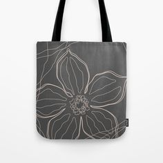 """High quality black tote bag perfect for your shopping or as a yoga bag for a stylish look. The floral line art design is available in 13""""x13"""" 16""""x16"""" 18""""x18"""". Grey Tote Bags, Black Tote Bag, Line Art Design, Cute Presents, Gifts For An Artist, Yoga Bag, Printed Tote Bags, Beach Towel, Hand Sewing"""