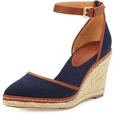 a170368a819 Charles David Keiko Closed-Toe Canvas Espadrille Wedge ( 72) ❤ liked on  Polyvore