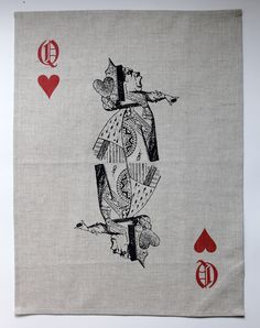Linen tea towel/placemat, Queen of Hearts, Real Simple, Queen Of Hearts, Simple House, Textile Prints, Own Home, Tea Towels, Alice In Wonderland, Tea Party, Screen Printing