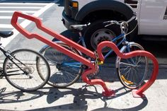 David Byrne-designed bike rack, NYC guitar