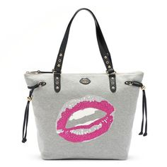 Juicy Couture Glitter Lips Sport Tote (Grey) featuring polyvore, fashion, bags, handbags, tote bags, grey, glitter tote bag, gray handbags, grey purse, sports tote bag and sports tote