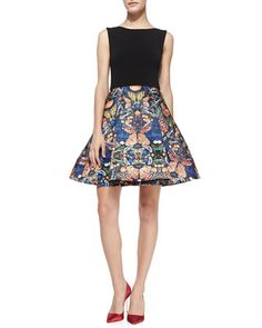 Amabel Solid/Printed Combo Dress by Alice + Olivia at Neiman Marcus.