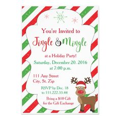 Reindeer Christmas Party Invite with Red Stripes. Click through to find matching games, favors, thank you cards, inserts, decor, and more. Or shop our 1000+ designs for all of life's journeys. Weddings, birthdays, new babies, anniversaries, and more. Only at Aesthetic Journeys