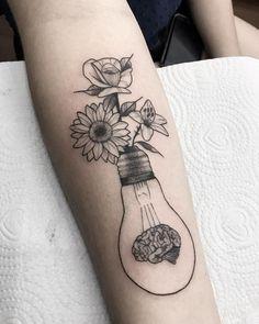 Tattoos Faciles, Psychology Tattoo, Body Art Tattoos, Tatoos, Brain Tattoo, Feminist Tattoo, Butterfly Tattoos For Women, Bottle Tattoo, Leg Sleeve Tattoo