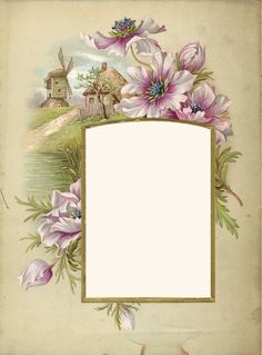 frame with flowers and a tiny windmill