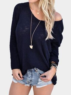 Navy Sexy Round Neck Long Sleeves Knitted T-shirt - US$13.95 -YOINS