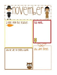 great november newsletter template thanksgiving pre k the crafty
