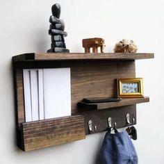 lindo cabideiro prateleira, madeira maciça