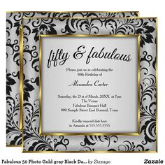 Shop Fabulous 50 Photo Gold gray Black Damask birthday Invitation created by Zizzago. 50th Birthday Invitations, Bachelorette Party Invitations, Quinceanera Invitations, Custom Invitations, 50th Birthday Party For Women, Corporate Invitation, Photo Gold, Party Stores, Xmas Cards