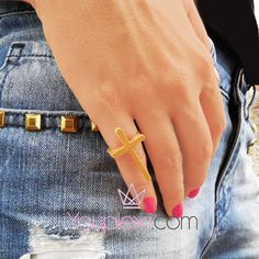 GOLD CROSS CODE:1.9.9. Handmade laseruct ring with a small cross made of plexiglass, size:2x3,2x2cm.