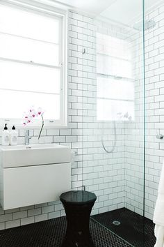 Ideas for small spaces - this compact and tiled bathroom sits inside an inner-city Art Deco apartment. Photography by Prue Ruscoe. Basement Bathroom, Bathroom Interior, Bathroom Cabinets, Master Bathroom, Black White Bathrooms, Apartment Chic, Bathroom Design Small, Bathroom Designs, Bathroom Inspiration