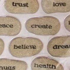 12 Meditation Garden Stones Trust Love Peace Create Imagine Wonder Believe #Northcrest