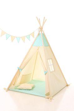 Kids Teepee Tent - Plain cotton indoor children's tipi with poles