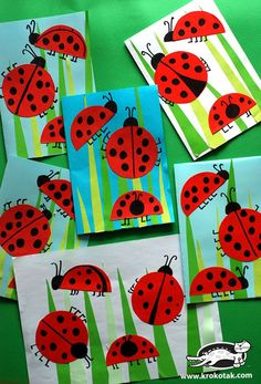 Bastelideen Ladybug Crafts for Kids Tips On Cleaning A Mattress Article Body: A good mattress is an Spring Crafts For Kids, Summer Crafts, Art For Kids, Ladybug Art, Ladybug Crafts, Insect Crafts, Kindergarten Art Projects, Spring Art, Preschool Crafts