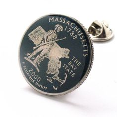 Massachusetts Quarter Tie Tack Lapel Pin Suit Flag State Coin