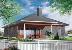 Plan de Maison unifamiliale W3275,  maison pour mobilité réduite, contemporaine pour tous les goûts. 2 chambres, garage et grand salon. Belle terrasse couverte à l'arrière. #Modern #Affordable #Economique