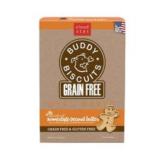 CLOUD STAR BUDDY BISCUITS GRAIN FREE PEANUT BUTTER 14 OZ. OVEN BAKED - BD Luxe Dogs & Supplies - 1