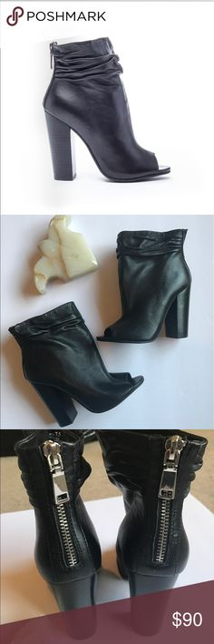 Kristen Cavallari Chinese Laundry Liam Boots 7.5 Brand new black Open Toe leather booties. Very fashionable booties with a slouchy look. The leather is super soft and the bold zipper on the back adds an extra touch to the look. Styled by many beauty gurus a fashion staple style with out a doubt. Retails at $150. Not in original box, box can be added if requested, there is some price tag residue on bottom of sole. kristen cavallari by chinese laundary Shoes Ankle Boots & Booties