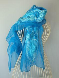 Turquoise Nuno Felt Scarf, Silk Nunofelted Scarf, Turquoise NunoFelt Shawl by MadebyReena on Etsy