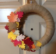 12 inch burlap wreath made. Each leaf is by PaperCrownCreations