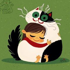 Hugs!!!! Tbt of me and my Juni. Fat kitties are the best. I love how squishy they are when you hug them. #Griz #GRIZandNORM #illustration #kitty #cat #kittycatclub #kitler #cowcat #hugs
