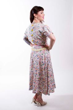1930s Vintage Dress Fruit and Floral Cotton 30s by stutterinmama, $98.00