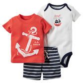 Complete with nautical screen prints and stripes, this soft 3-piece set is perfect for spring.