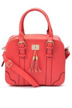 Mobile   Coral Tassel Bow Bowler Bag