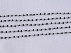 5 Feet Black Onyx HydroRosary 925 SilverPlated 3.50mm Beads Rosary Beaded Chain. # #Faceted