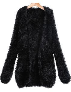 Shop Black Long Sleeve Shaggy Knit Cardigan online. Sheinside offers Black Long Sleeve Shaggy Knit Cardigan & more to fit your fashionable needs. Free Shipping Worldwide!