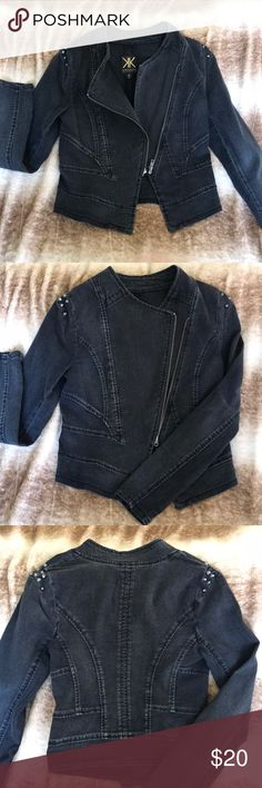 NWOT Kardashian Hi-Lo Moto fitted jean jacket. NWOT KK fitted moto inspired black jean jacket. Has pewter studs at shoulders. Great to dress down a dress or  give some edge to everyday outfit! Kardashian Kollection Jackets & Coats Jean Jackets