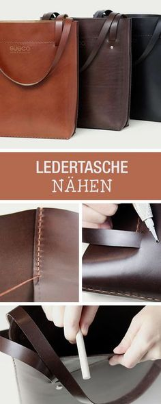 DIY Guide: Close to an Elegant Leather Case Made of High Quality Materials, Office Look / DIY tutorial: sew your own elegant leather bag via DaWanda . Leather Diy Crafts, Leather Bags Handmade, Leather Projects, Leather Craft, Diy Accessoires, Diy Mode, Bag Pattern Free, Diy Handbag, Sewing Leather
