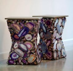 Gorgeous Agate End Tables by CAC Mosaic Designs..