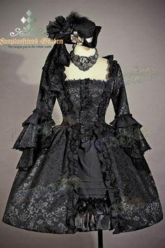 Victorian,Rococo,Lolita,Square Neckline,Ball,Dress,Knee Length,Jacquard,Ruffle Sleeves