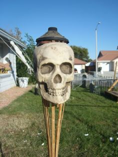 So easy. I have a lot of tiki torches. This would look good in the cemetary